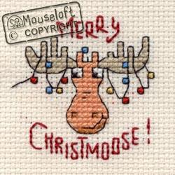 Christmas Cross Stitch Card Kit - Merry Christmoose-0