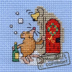 Christmas Cross Stitch Card Kit - Christmas Party Mouse-0