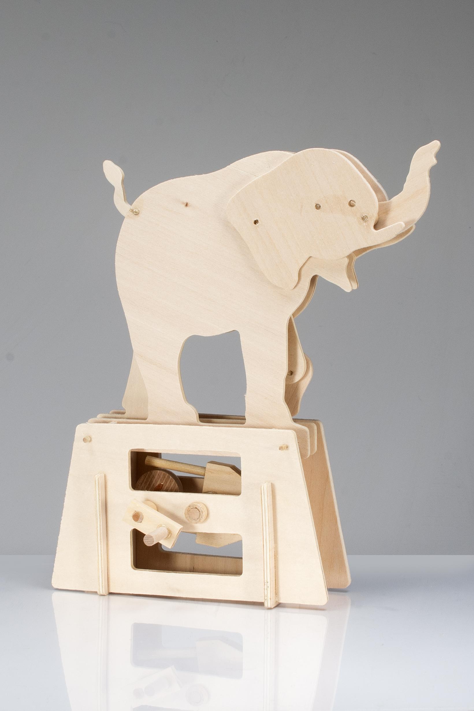 Flatbits Elephant Wooden Automata Kit -0