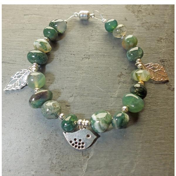 bird and moss agate bracelet